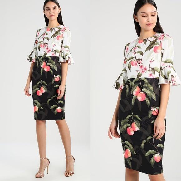 d70df3dddd3 Ted Baker London AREEA Peach Blossom Ruffle Dress.  M_5a586748a6e3ea278e791d2c